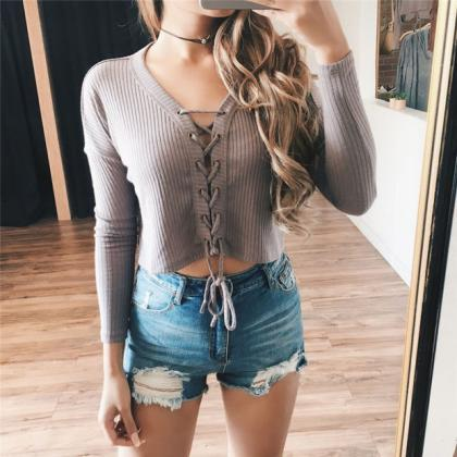 Ribbed Knit Lace-Up Plunge V Long S..
