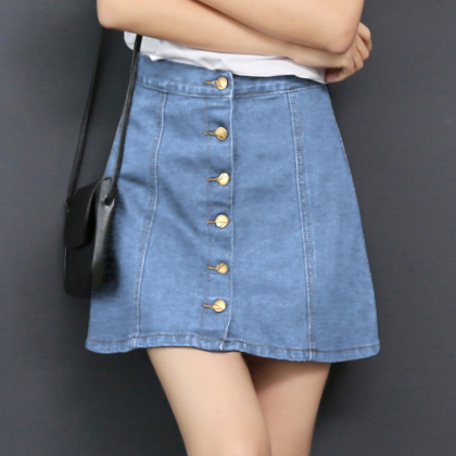 Denim Button Down Short A-Line Skir..