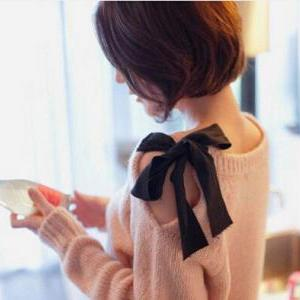 Strapless Bow Retro Loose Sweater C..