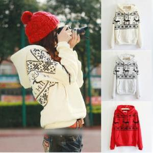 Printed fawn hooded sweater #092822..