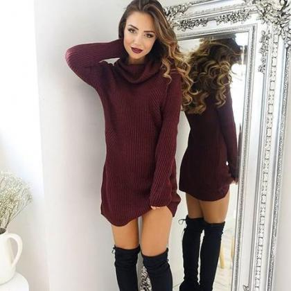 FASHION HIGH-NECKED LONG-SLEEVED DR..