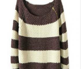 Striped Long-Sleeved Cardigan Sweater #092305AD