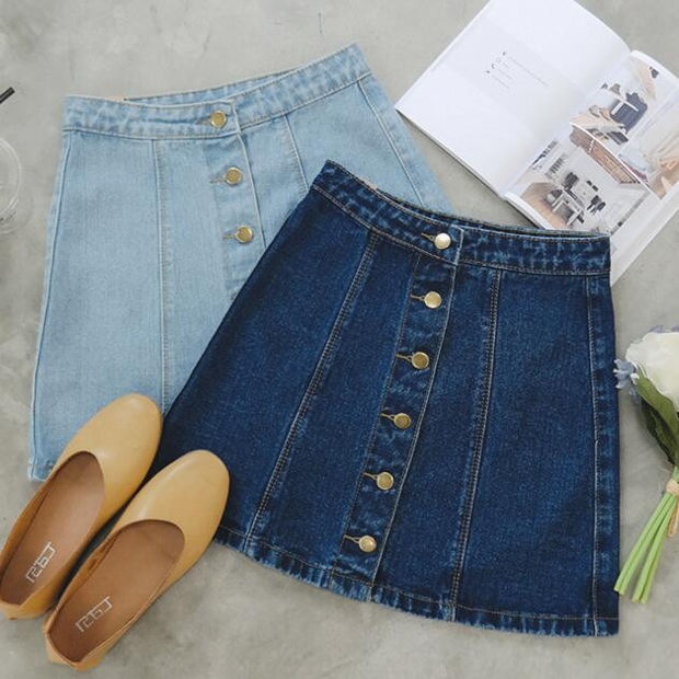 Denim Button Down Short A-Line Skirt