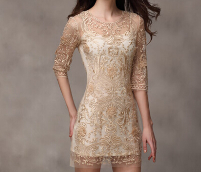 Slim embroidered lace dress #100106AD