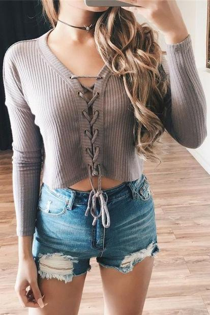 Ribbed Knit Lace-Up Plunge V Long Sleeves Crop Top