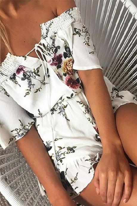 Floral Print White Off Shoulder Romper