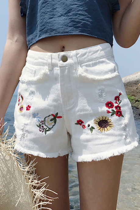 Floral Embroidered High Rise Frayed Hem Distressed Denim Shorts