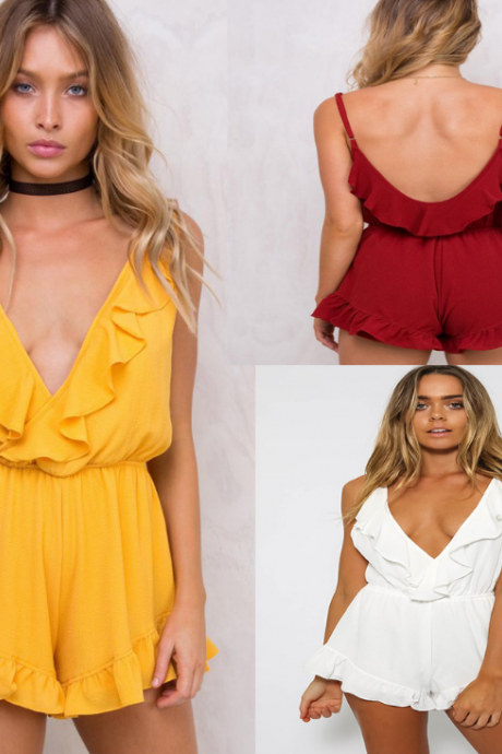 Sexy Sling V-Neck Sleeveless Backless Rompers