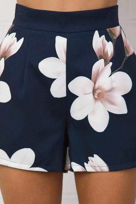 Fashion Printed High Waist Shorts