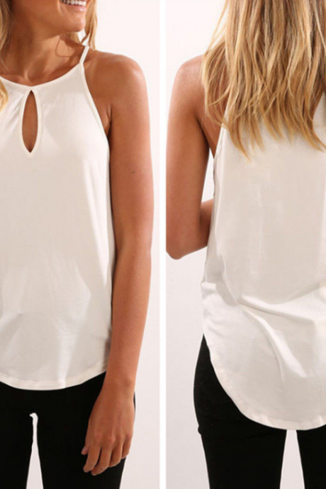 Solid Color Sleeveless Vest T-Shirt