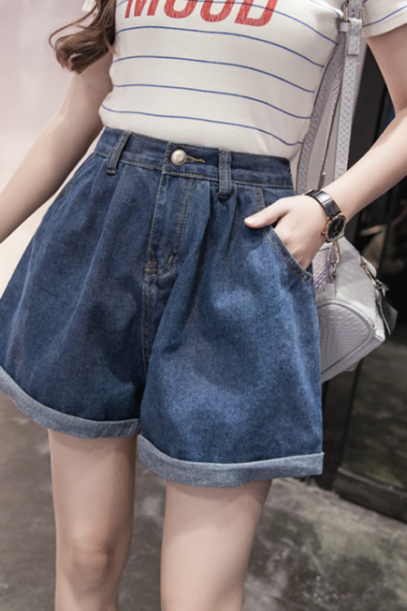 Design High Waist Denim Shorts