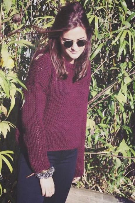 HOT LONG SLEEVE WINE RED SWEATER