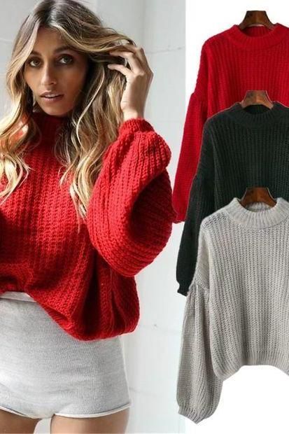 Knitted Mock Neck Long Puffed Sleeves Sweater
