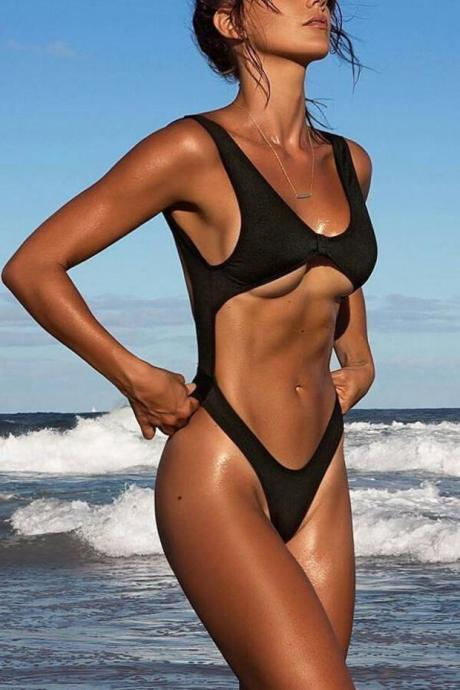 Black Bow Front High Leg Swimsuit