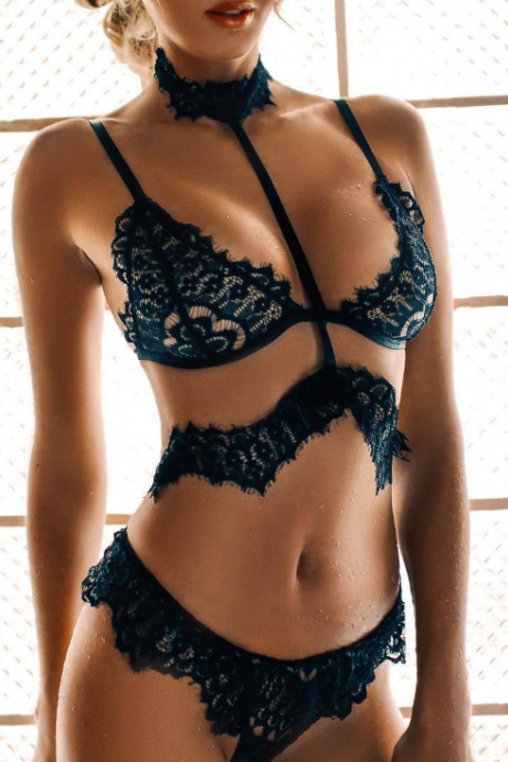 Fashion Sexy Black Lace Two-Piece Underwear