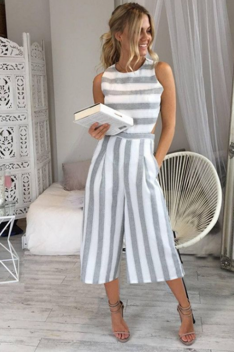 2018 Women's Striped Sleeveless Jumpsuit