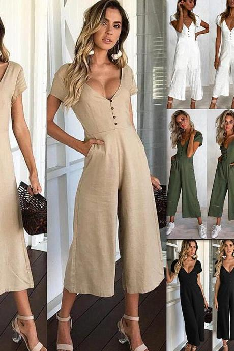 Plain V-Neck Short-Sleeved Wide-Leg Jumpsuit