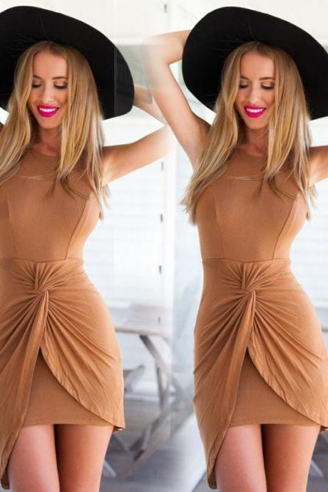 SLIM ROUND NECK SLEEVELESS PACKAGE HIP DRESS