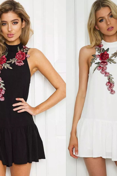 Floral Embroidered Sleeveless Mock Neck Short Frilled Shift Dress