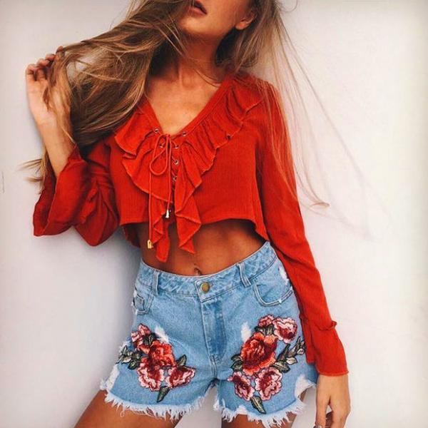 V-Neck Ruffle Lace-Up Chiffon Crop Top with Long Sleeves