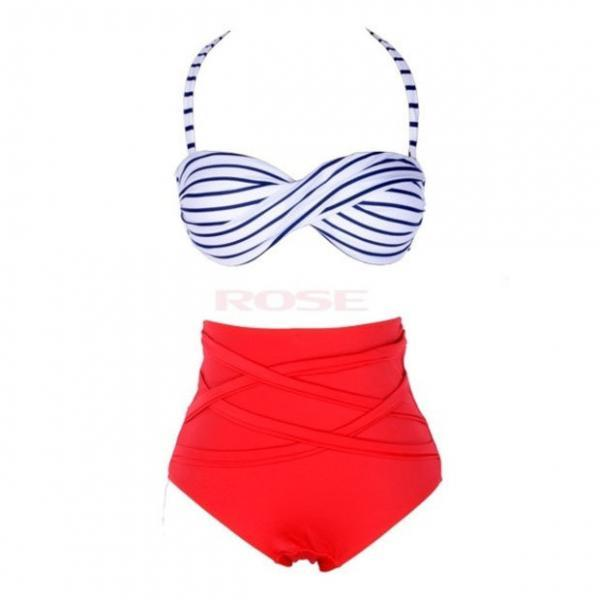 New Vintage Style Stripes Bandage Bikini High Waist Padded Twisted Bandeau Swimwear Swimsuit Bathing Suit
