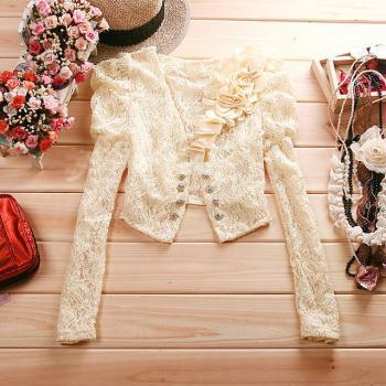 Flower stitching lace small coat #082502RB
