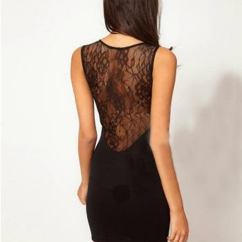 Sexy lace backless dress #082604VY