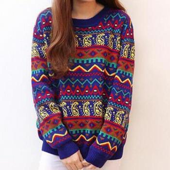 Retro Hit Color Stripe Loose Sweater #092306AD