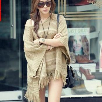 Fringed Hollow Bat Sleeve Cape Coat #092307AD