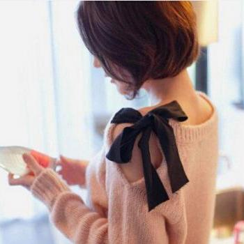 Strapless Bow Retro Loose Sweater Coat #092309AD