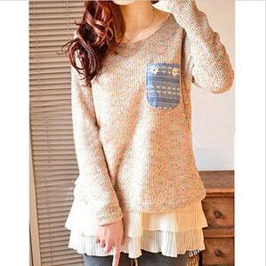 Round neck thick sweater knit #110303AD