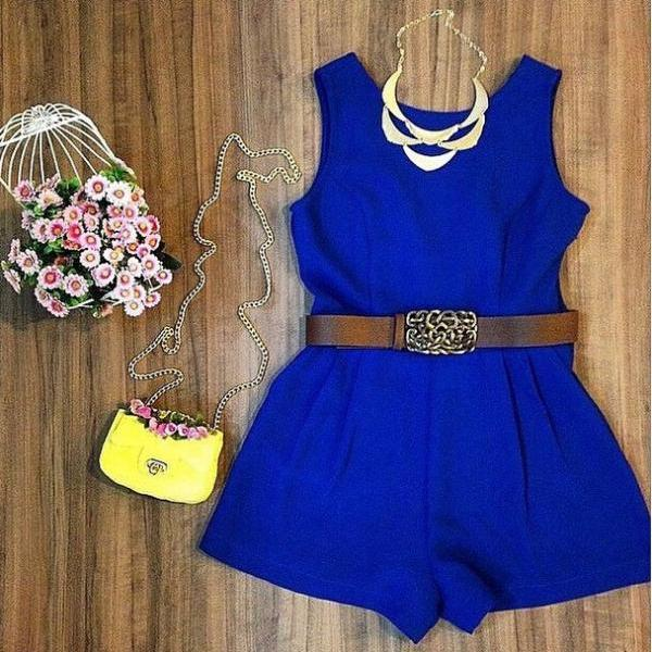 Fashion Sleeveless Blue Jumpsuits #AD40207
